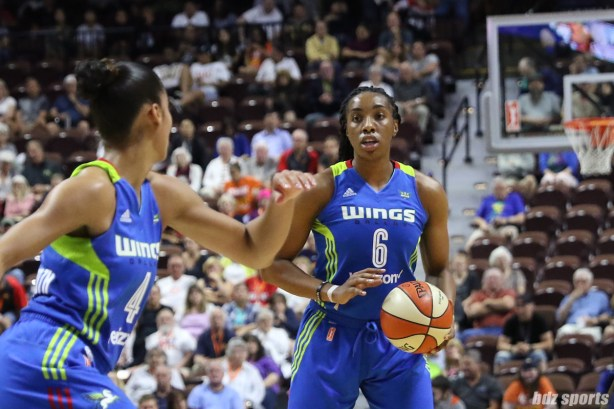 Dallas Wings forward Kayla Thornton (6) controls the ball for the Wings