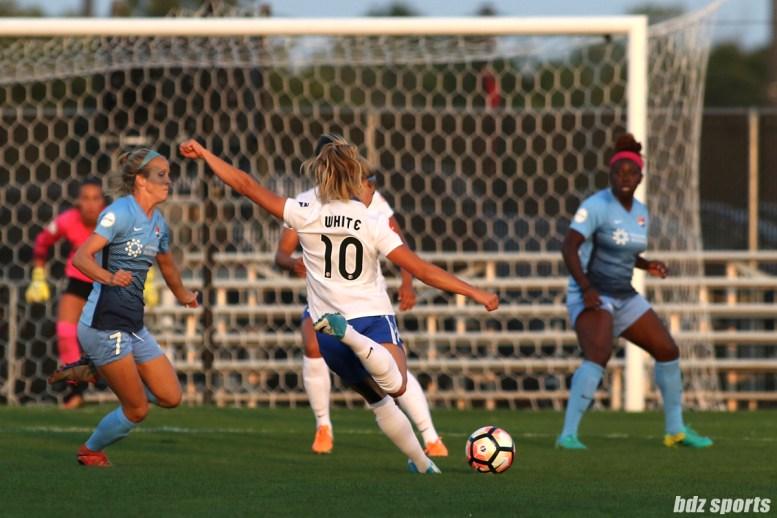 Boston Breakers midfielder Rosie White (10) takes a shot on goal