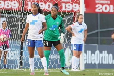 Boston Breakers forward Midge Purce (21) and goalkeeper Abby Smith (14) prepare defensively for a corner kick