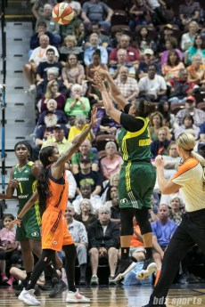 Seattle Storm forward Kaleena Mosqueda-Lewis (23) takes a 3-point shot.