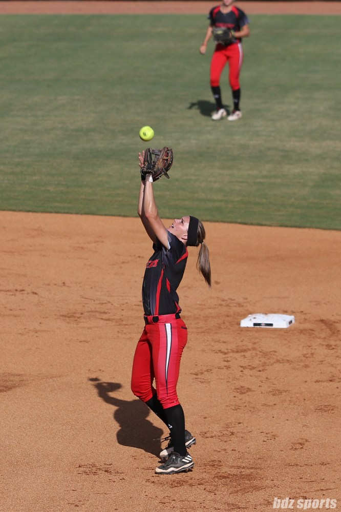 Akron Racers second baseman Ashley Thomas (1) makes the out