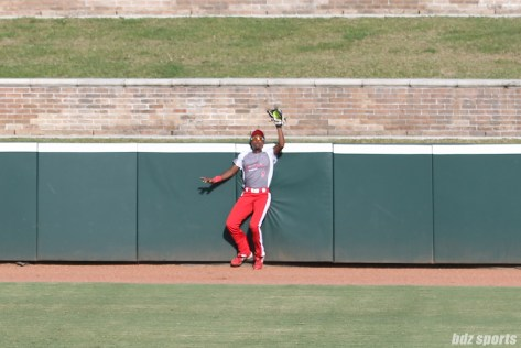 Scrap Yard Dawgs outfielder Kayla Winkfield (9) makes the grab at the wall