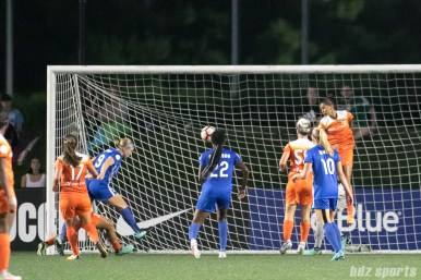 Boston Breakers forward Natasha Dowie (9) heads in the ball for Boston's lone goal of the game.