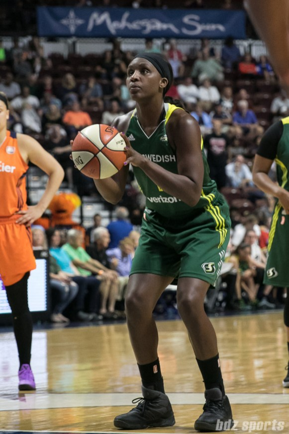Seattle Storm forward Crystal Langhorne (1) takes a free throw.