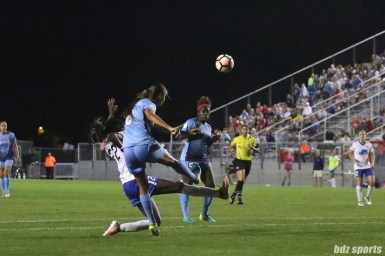 Sky Blue FC defender Erica Skroski (8) clears the ball out of danger