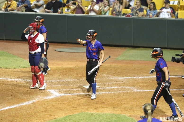 Chicago Bandits outfielder Sammy Marshall (10) points to teammate Brenna Moss (not pictured) after scoring a run