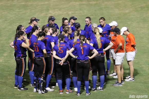 The Chicago Bandits gather together after their season ending loss to the USSSA Pride