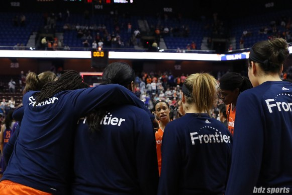 The Connecticut Sun huddle after their season-ending loss to the Phoenix Mercury. The Mercury defeated the Sun 88 - 83 in round 2 of the WNBA playoffs.