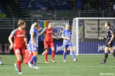 Portland Thorns FC forward Christine Sinclair (12) disagrees with the call on the field