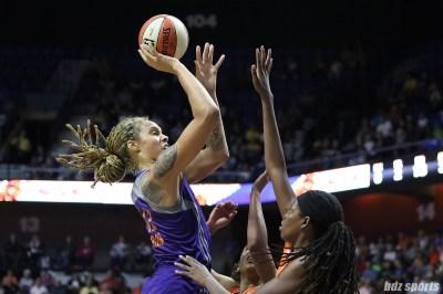Phoenix Mercury center Brittney Griner (42) takes a jump shot