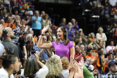 Rebecca Lobo waves to the fans after being recognized for being a member of the 2017 class of the Naismith Memorial Basketball Hall of Fame
