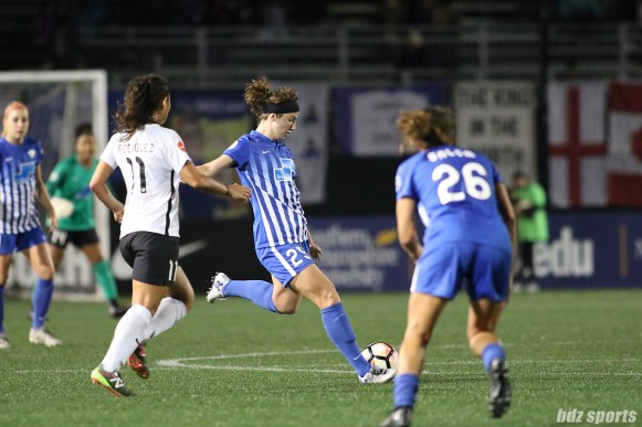 Boston Breakers midfielder Morgan Andrews (25) takes a shot on goal