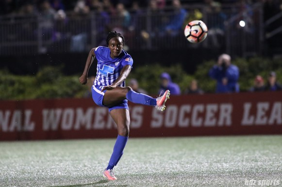 Boston Breakers forward Ifeoma Onumonu (22) takes a shot on goal