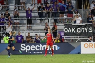 Portland Thorns FC midfielder Dagny Brynjarsdottir (11) reacts after the final whistle is blown. The Portland Thorns FC defeated the North Carolina Courage 1-0 to win the 2017 NWSL Championship.