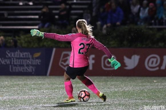 Sky Blue FC goalkeeper Caroline Casey (27) takes a goal kick