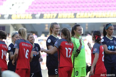 U.S. WNT teammates North Carolina Courage midfielder Sam Mewis (5) and Portland Thorns FC midfielder Tobin Heath (17) shake hands before the start of the game
