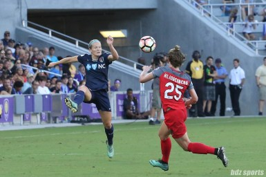 North Carolina Courage forward Kristen Hamilton (23) looks to settle a pass