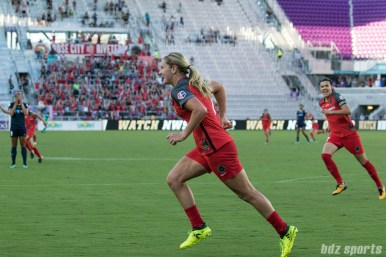 Portland Thorns FC midfielder Lindsey Horan (7) reacts after scoring a goal