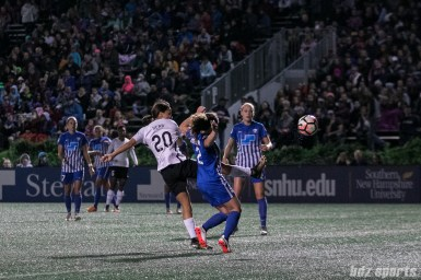 Sky Blue FC forward Sam Kerr (20) flicks on the ball to score her record breaking 17th goal of the season
