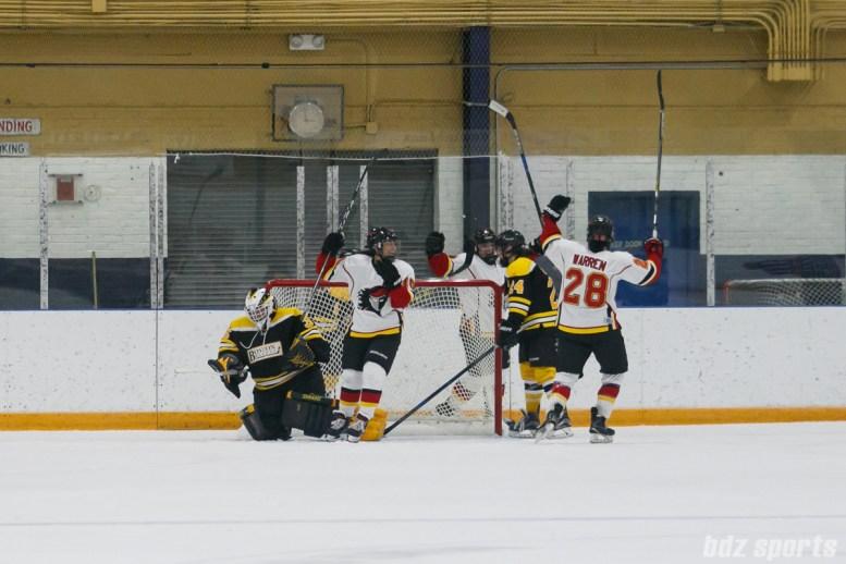 Calgary Inferno players celebrate an Inferno goal