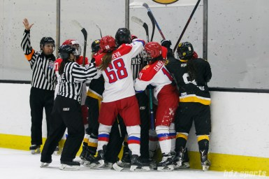 A melee breaks out against the boards