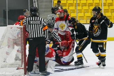 Boston Pride defender Alyssa Gagliardi (2) pulls a Russian player off a Pride teammate