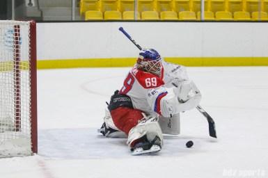 Russian team goalie Mariia Sorokina (69) comes up with a save