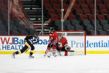 Boston Pride defender Meagan Mangene (57) takes a shot to score the Pride's lone goal of the game