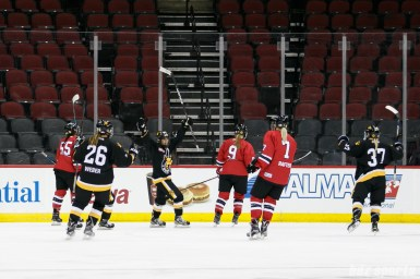 The Boston Pride celebrate teammate Meagan Mangene's (57) goal against the Metropolitan Riveters