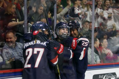 Team USA players Annie Pankowski (27), Emily Pfalzer (8), Jocelyne Lamoureux-Davidson (17), and Alex Carpenter (25) celebrate Pfalzer's goal in the first period