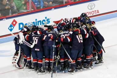 Team USA huddles before the start of their game against Team Canada in the The Time Is Now Tour on October 25, 2017