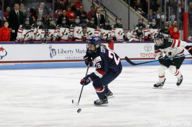 Team USA forward Kendall Coyne (26) on a breakaway