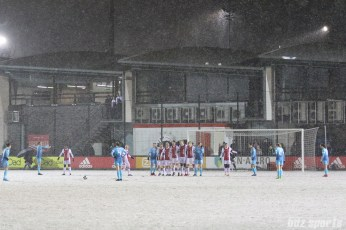 FC Twente takes a free kick just outside the box