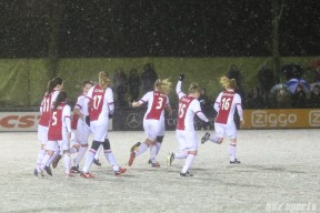 Ajax forward Linda Bakker (15) puts her fist in the air after teammate midfielder Desiree van Lunteren (10) scores the lone goal of the unfinished game