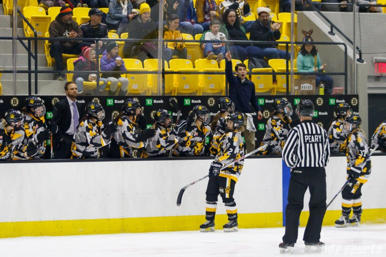Boston Pride defender Alyssa Gagliardi (2) celebrates the first goal of her NWHL career