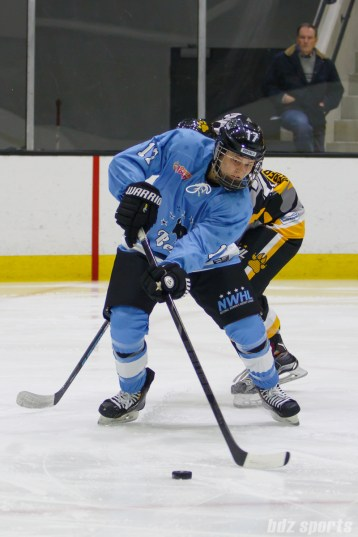 Buffalo Beauts defender Jordyn Burns (17) clears the puck out