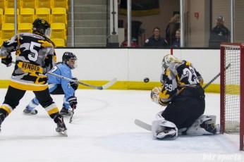 Boston Pride goalie Brittany Ott (29) makes the save against Buffalo Beauts forward Kristin Lewicki (27)