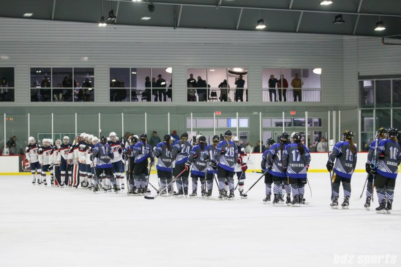 Team USA and Team NWHL shake hands after Team USA defeated Team NWHL 3-0