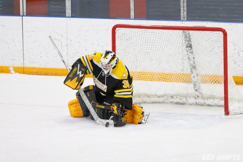 Boston Blades goalie Lauren Dahm (35) makes the stop