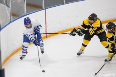 Toronto Furies forward Hayley Williams (3) looks to clear the puck while being challenged by Boston Blades forward Courtney Turner (3)