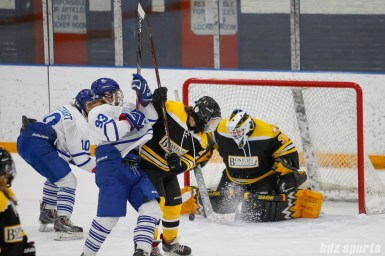 Boston Blades goalie Lauren Dahm (35) blocks the shot