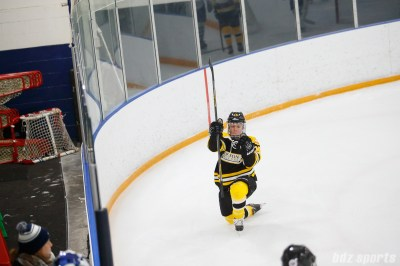 Boston Blades forward Megan Myers (15) celebrates scoring a goal