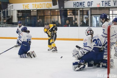 Boston Blades forward Meghan Grieves (17) takes a shot on goal