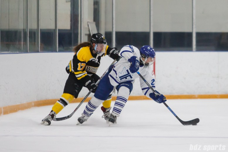 Toronto Furies forward Carolyne Prevost (27) controls the puck for the Furies while being defended by Boston Blades forward Meghan Grieves (17)