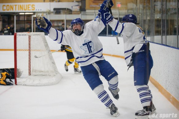 Toronto Furies forward Carolyne Prevost (27) celebrates after scoring what would be the game-winning goal