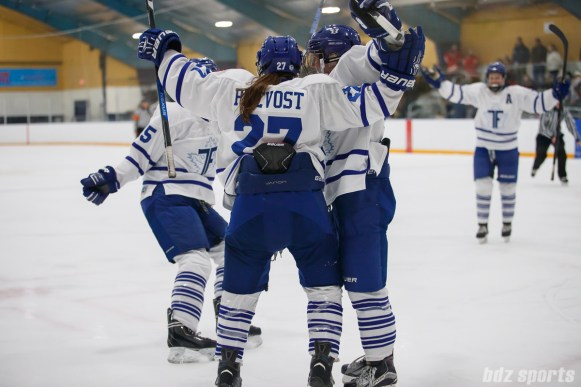 Toronto Furies forward Carolyne Prevost (27) celebrating her goal with her teammates