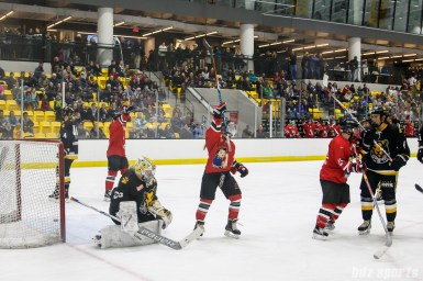 The Metropolitan Riveters celebrate Kelsey Koelzer's (not pictured) goal in the second period