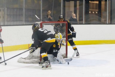 Boston Pride goalie Brittany Ott (29) keeps the puck out of the net