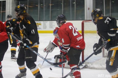 Metropolitan Riveters goalie Katie Fitzgerald (35) comes up with the stop