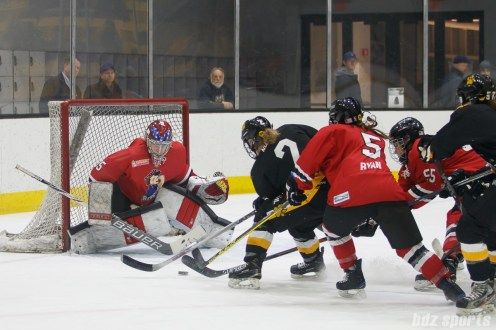 Boston Pride defender Alyssa Gagliardi (2) looks to get the puck past Metropolitan Riveters goalie Katie Fitzgerald (35)
